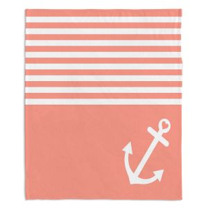 Decorative Fleece Throw Blankets | Organic Saturation - Coral Love Anchor Nautical