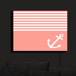 Nightlight Sconce Canvas Light | Organic Saturation - Coral Love Anchor Nautical