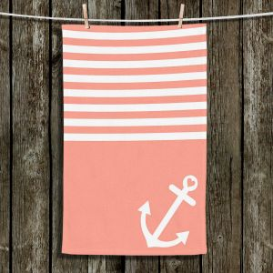 Unique Bathroom Towels | Organic Saturation - Coral Love Anchor Nautical