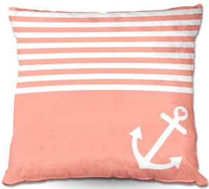 Decorative Outdoor Patio Pillow Cushion | Organic Saturation - Coral Love Anchor Nautical