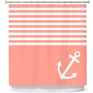 Premium Shower Curtains | Organic Saturation Coral Love Anchor Nautical