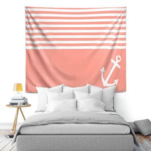 Artistic Wall Tapestry   Organic Saturation Coral Love Anchor Nautical