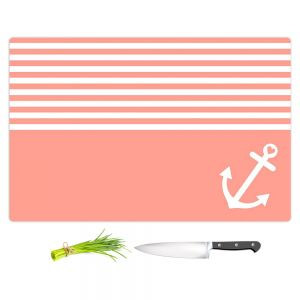 Artistic Kitchen Bar Cutting Boards | Organic Saturation - Coral Love Anchor Nautical