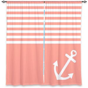 Decorative Window Treatments | Organic Saturation Coral Love Anchor Nautical
