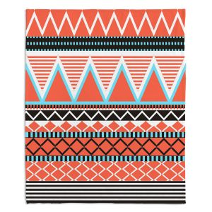 Decorative Fleece Throw Blankets | Organic Saturation - Coral Tribal