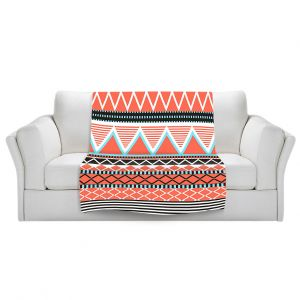 Artistic Sherpa Pile Blankets | Organic Saturation Coral Tribal