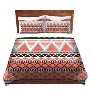 Artistic Duvet Covers and Shams Bedding | Organic Saturation - Coral Tribal