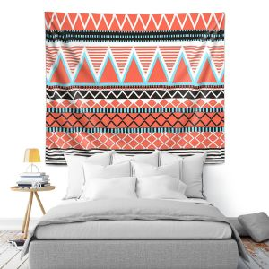 Artistic Wall Tapestry   Organic Saturation Coral Tribal