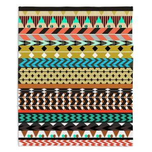 Artistic Sherpa Pile Blankets | Organic Saturation Desert Aztec Pattern