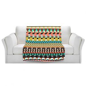 Artistic Sherpa Pile Blankets | Organic Saturation Desert Aztec Pattern