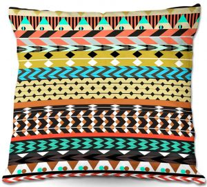 Decorative Outdoor Patio Pillow Cushion | Organic Saturation - Desert Aztec Pattern