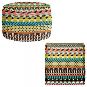 Round and Square Ottoman Foot Stools | Organic Saturation - Desert Aztec Pattern