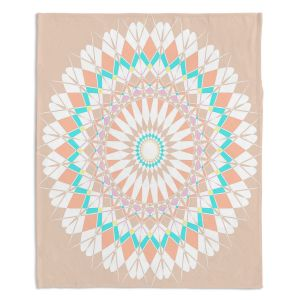 Decorative Fleece Throw Blankets | Organic Saturation - Feather Star Mandala