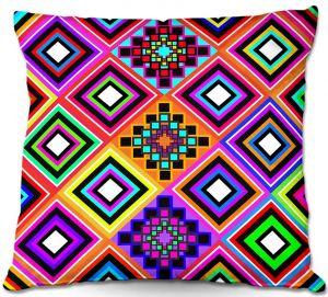 Decorative Outdoor Patio Pillow Cushion   Organic Saturation - Fiesta Native Inspired