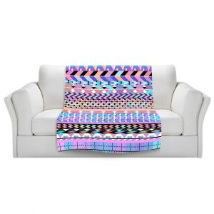 Artistic Sherpa Pile Blankets | Organic Saturation Girly Colorful Aztec Pattern