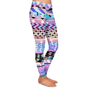Casual Comfortable Leggings | Organic Saturation Girly Colorful Aztec Pattern