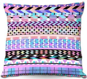 Decorative Outdoor Patio Pillow Cushion | Organic Saturation - Girly Colorful Aztec Pattern