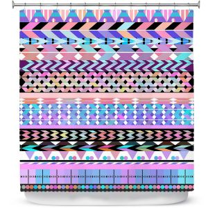 Premium Shower Curtains | Organic Saturation Girly Colorful Aztec Pattern