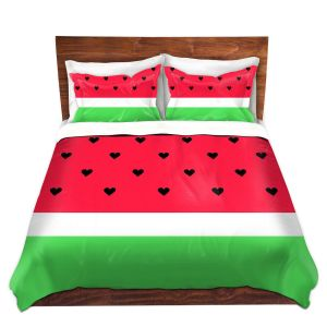 Artistic Duvet Covers and Shams Bedding | Organic Saturation - I Love Watermelon