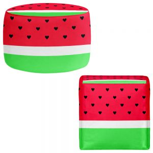 Round and Square Ottoman Foot Stools | Organic Saturation - I Love Watermelon