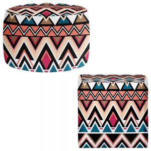 Round and Square Ottoman Foot Stools | Organic Saturation - Mountain Nativo Tribal