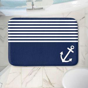 Decorative Bathroom Mats | Organic Saturation - Navy Blue Love Anchor Nautical