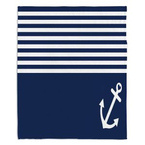 Decorative Fleece Throw Blankets | Organic Saturation - Navy Blue Love Anchor Nautical