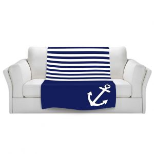 Artistic Sherpa Pile Blankets | Organic Saturation Navy Blue Love Anchor Nautical