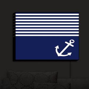 Nightlight Sconce Canvas Light | Organic Saturation - Navy Blue Love Anchor Nautical