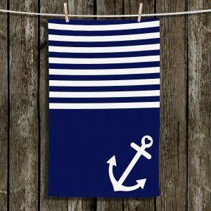 Unique Hanging Tea Towels | Organic Saturation - Navy Blue Love Anchor Nautical | Boating Sailing Ocean