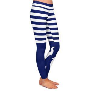 Casual Comfortable Leggings | Organic Saturation Navy Blue Love Anchor Nautical