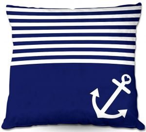 Decorative Outdoor Patio Pillow Cushion | Organic Saturation - Navy Blue Love Anchor Nautical