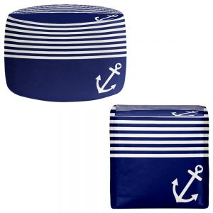 Round and Square Ottoman Foot Stools | Organic Saturation - Navy Blue Love Anchor Nautical
