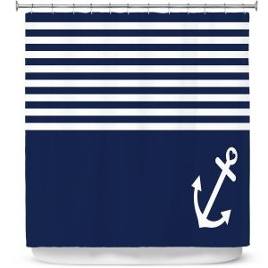 Premium Shower Curtains | Organic Saturation Navy Blue Love Anchor Nautical