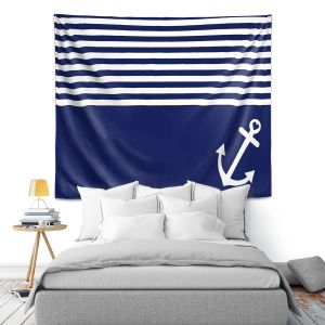 Artistic Wall Tapestry   Organic Saturation Navy Blue Love Anchor Nautical