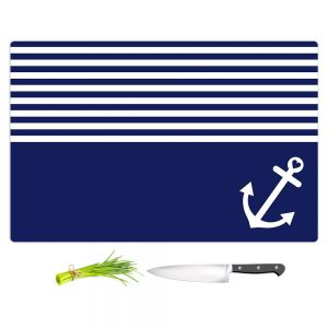 Artistic Kitchen Bar Cutting Boards | Organic Saturation - Navy Blue Love Anchor Nautical