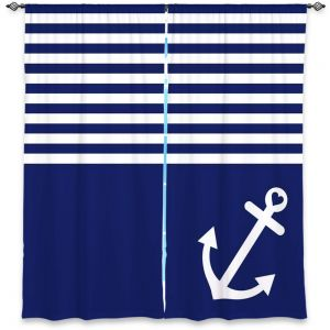 Unique WINDOW CURTAINS DiaNoche Designs - Organic Saturation - Navy Blue Love Anchor Nautical