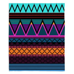 Artistic Sherpa Pile Blankets | Organic Saturation Neon Modern Tribal