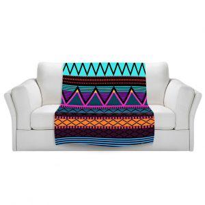 Artistic Sherpa Pile Blankets | Organic Saturation Neon Modern Tribal