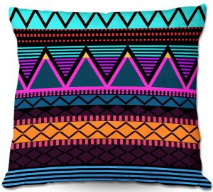 Decorative Outdoor Patio Pillow Cushion | Organic Saturation - Neon Modern Tribal