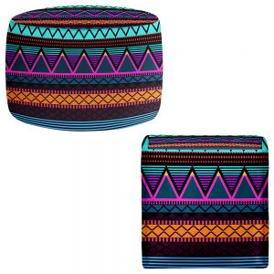 Round and Square Ottoman Foot Stools | Organic Saturation - Neon Modern Tribal