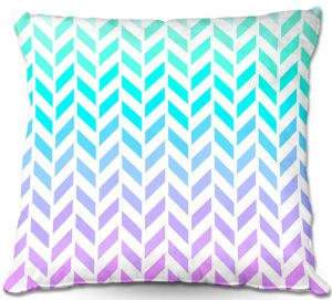 Decorative Outdoor Patio Pillow Cushion | Organic Saturation - Ombre Herringbone Pattern