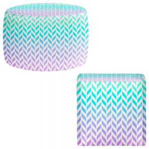 Round and Square Ottoman Foot Stools | Organic Saturation - Ombre Herringbone Pattern