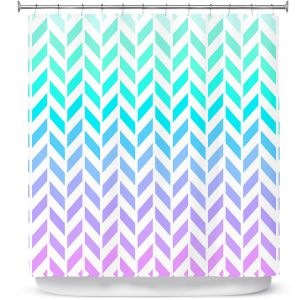 Unique Shower Curtains 71w x 74h Inches from DiaNoche Designs by Organic Saturation - Ombre Herringbone Pattern