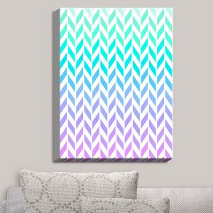 Decorative Canvas Wall Art | Organic Saturation - Ombre Herringbone Pattern