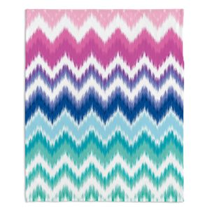 Decorative Fleece Throw Blankets | Organic Saturation - Ombre Ikat Chevron