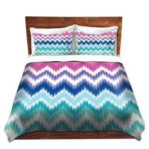 Artistic Duvet Covers and Shams Bedding | Organic Saturation - Ombre Ikat Chevron