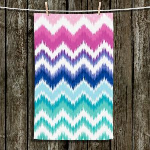 Unique Hanging Tea Towels | Organic Saturation - Ombre Ikat Chevron | Abstract Patterns