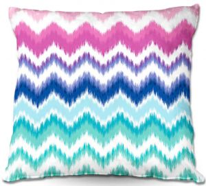 Decorative Outdoor Patio Pillow Cushion | Organic Saturation - Ombre Ikat Chevron