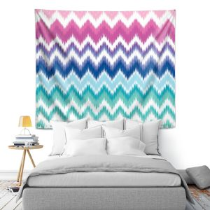 Artistic Wall Tapestry | Organic Saturation Ombre Ikat Chevron